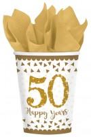 8 Sparkling 50 Years Pappbecher 266ml