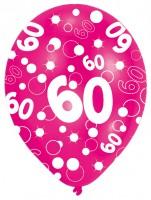 6 Luftballons Bubbles 60.Geburtstag Bunt 27,5cm