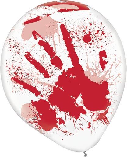 6 Halloween-balloner Blodig håndaftryk