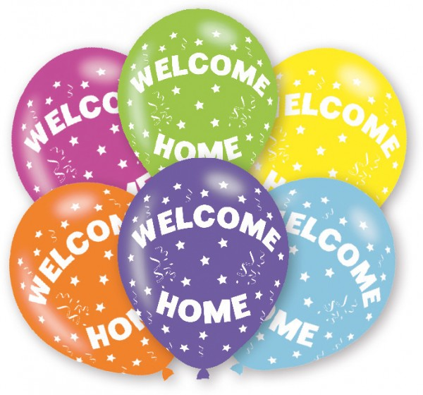 6er Set Welcome Home Luftballons Bunt