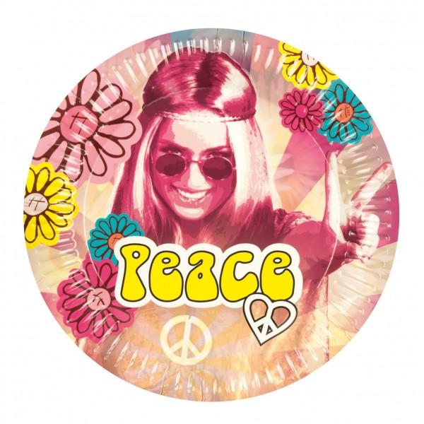 6 Hippie Peace Power Pappteller 25cm