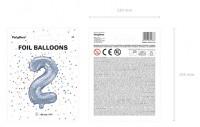 Holografischer Zahl 2 Folienballon 35cm