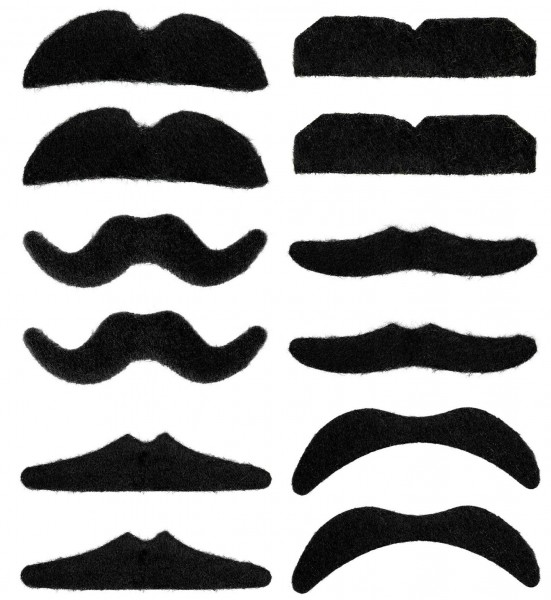 Beards black set of 12