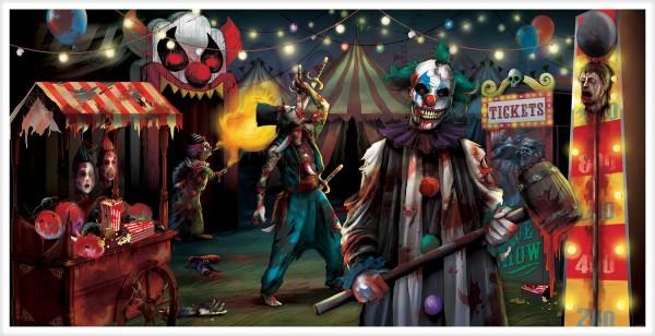 Horror circus landschap banner 1,65 m x 84 cm