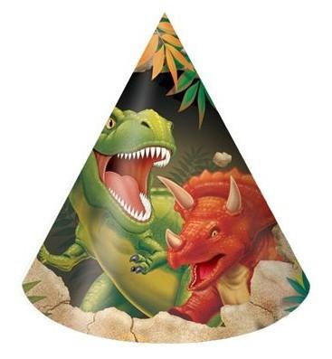 8 Höhlen Dino Partyhüte