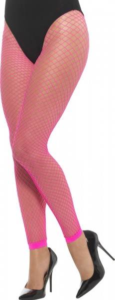 Collants résille rose fluo