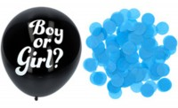 Ballon 3er Set schwarz mit blauem Konfetti 41cm