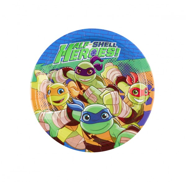 8 Half Shell Heroes Action round paper plates 18cm