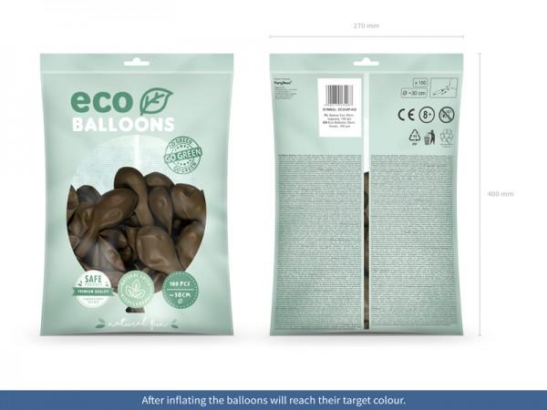 100 Eco Pastell Ballons braun 30cm