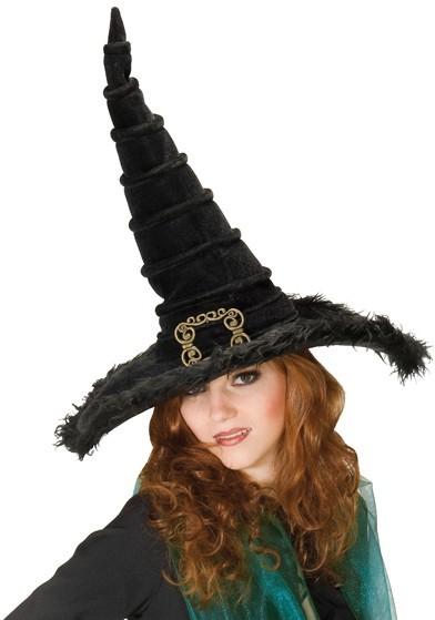 Schwarzer Halloween Hexenhut mit Schnalle