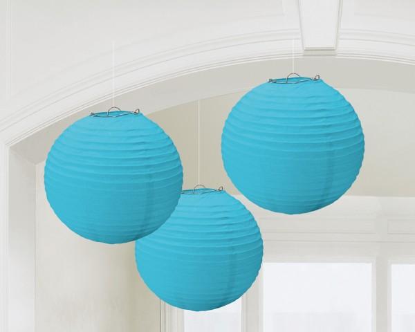 3 Summer Tale lantaarns azuurblauw 24cm
