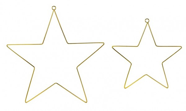 2 gold star metal hangers 28cm 2