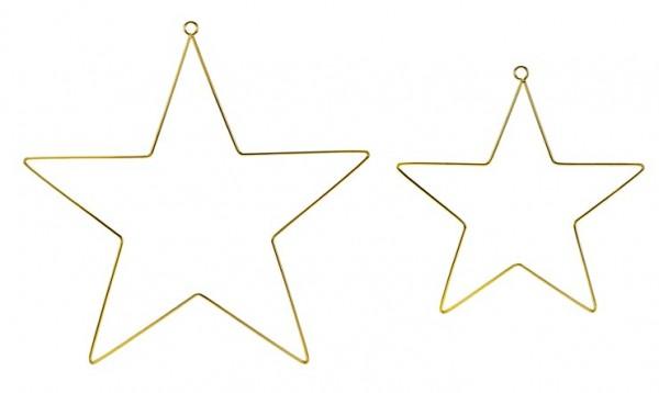 2 Gouden ster metalen hangers 28cm