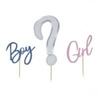 Gender Reveal Boy or Girl Tortendeko-Set 3-teilig