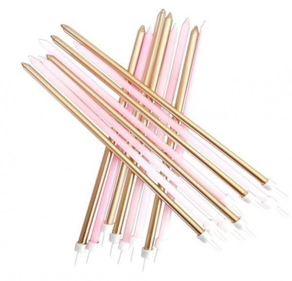 16 candeline XXL rosa-oro 18 cm
