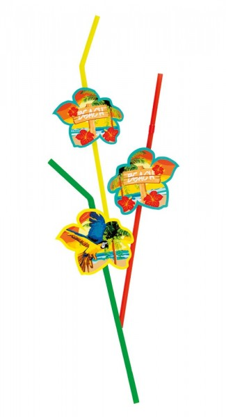 6 Hawaii Beach straws colored