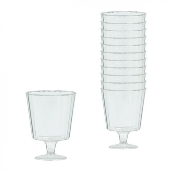 24 transparent plastic wine glasses 142ml