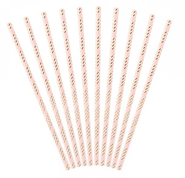 10 Cheerful Birthday straws light pink 19.5cm