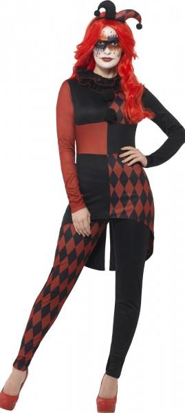 Harlequin Clown Damenkostüm Rot Schwarz
