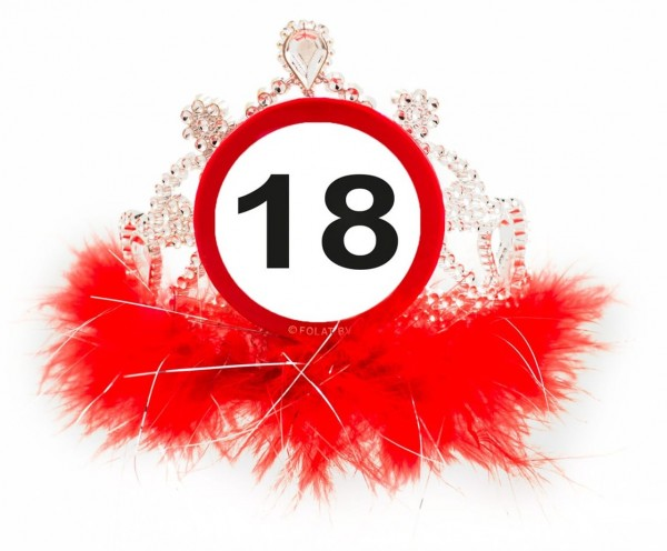 Road sign 18 birthday crown