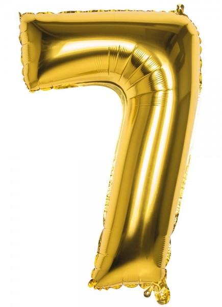 Ballon aluminium numéro 7 or métallique 86cm