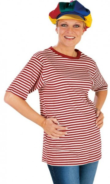 Striped shirt with short sleeves in red