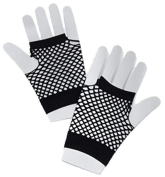 Korte 80s mesh handschoenen zwart