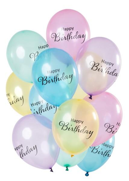 12 ballons en latex couleurs pastel joyeux anniversaire