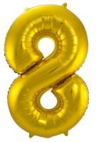 Zahl 8 Folienballon in Gold 86cm