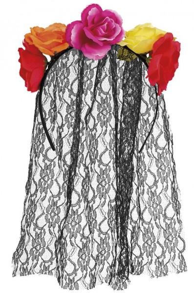 Bandeau fleuri avec voile de dentelle