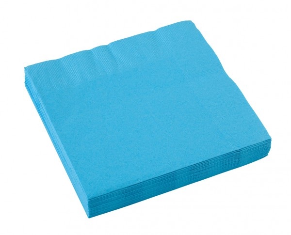 Lot de 20 serviettes papier Partytime bleu aigue-marine