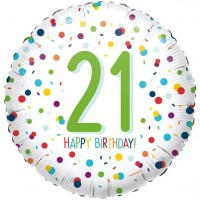 21. Geburtstag Konfetti Folienballon 46cm