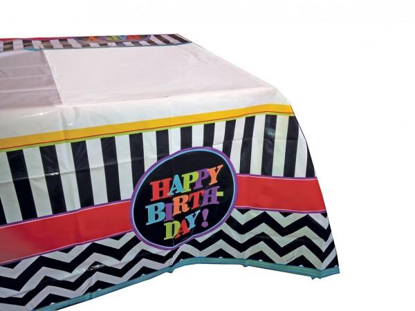 Happy Birthday Tischdecke Schwarz-Weiß Gestreift 120x180cm