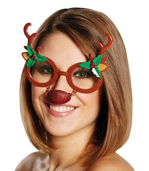 Rudi reindeer glasses with red nose