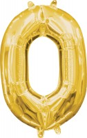 Mini Folienballon Zahl 0 gold 35cm