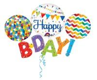 Folienballon Happy B-Day bunt