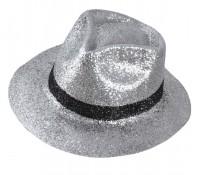 Glitzer Gangster Hut Silber