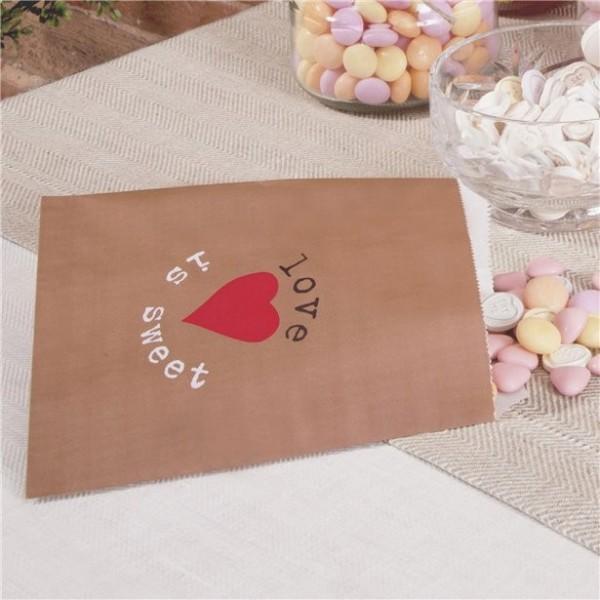 25 Papier Geschenktüten mit Herzmotiv