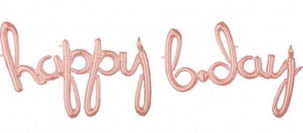 Globo de aluminio Happy B-Day oro rosa