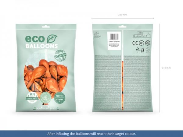 100 Eco metallic Ballons orange 26cm