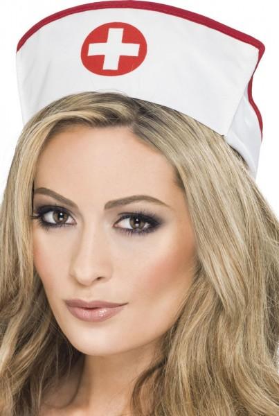 Krankenschwester Haube Weiß-Rot