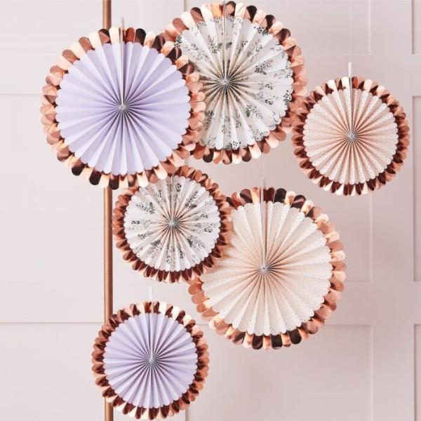 6 rosetones decorativos florales en oro rosa