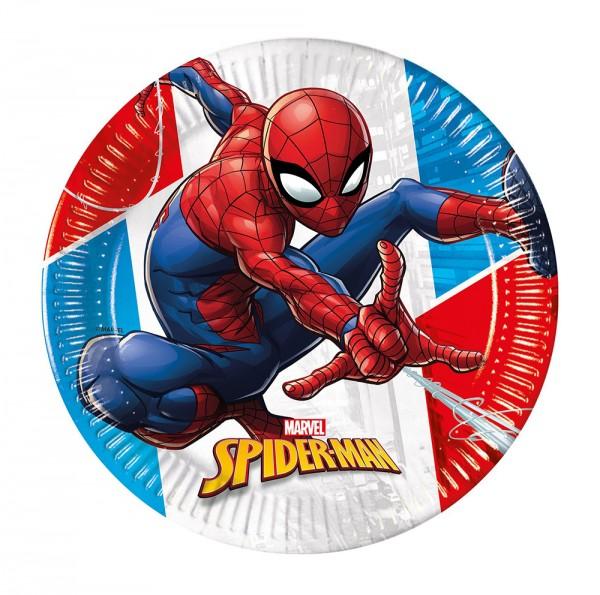 8 Spiderman Öko Power Pappteller 20cm