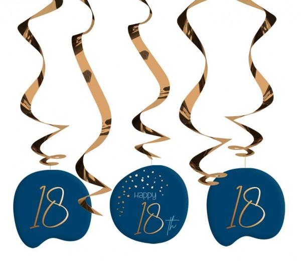 Décoration à suspendre 18e anniversaire 5 pièces Bleu élégant