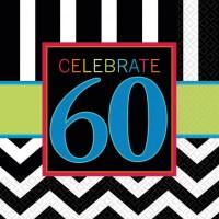 16er Set 60.Geburtstag Servietten Schwarz-Weiß