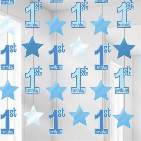 6 Blaue First Birthday Boy Hänger 2,1m