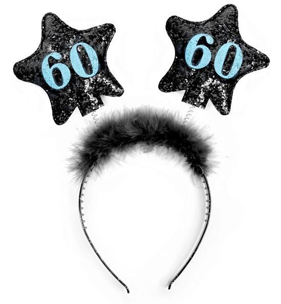 Glanzende haarband voor 60e verjaardag 13 cm