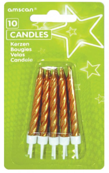 Birthday Party Cake Candle Gold Metallic Include 10 pezzi