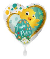 Frohe Ostern Küken Herz Folienballon 43cm