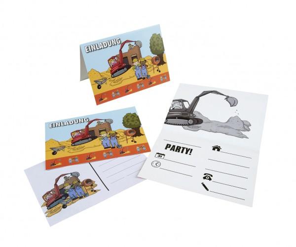8er Pack Einladungskarten Baustelle Mit A6 Umschlägen